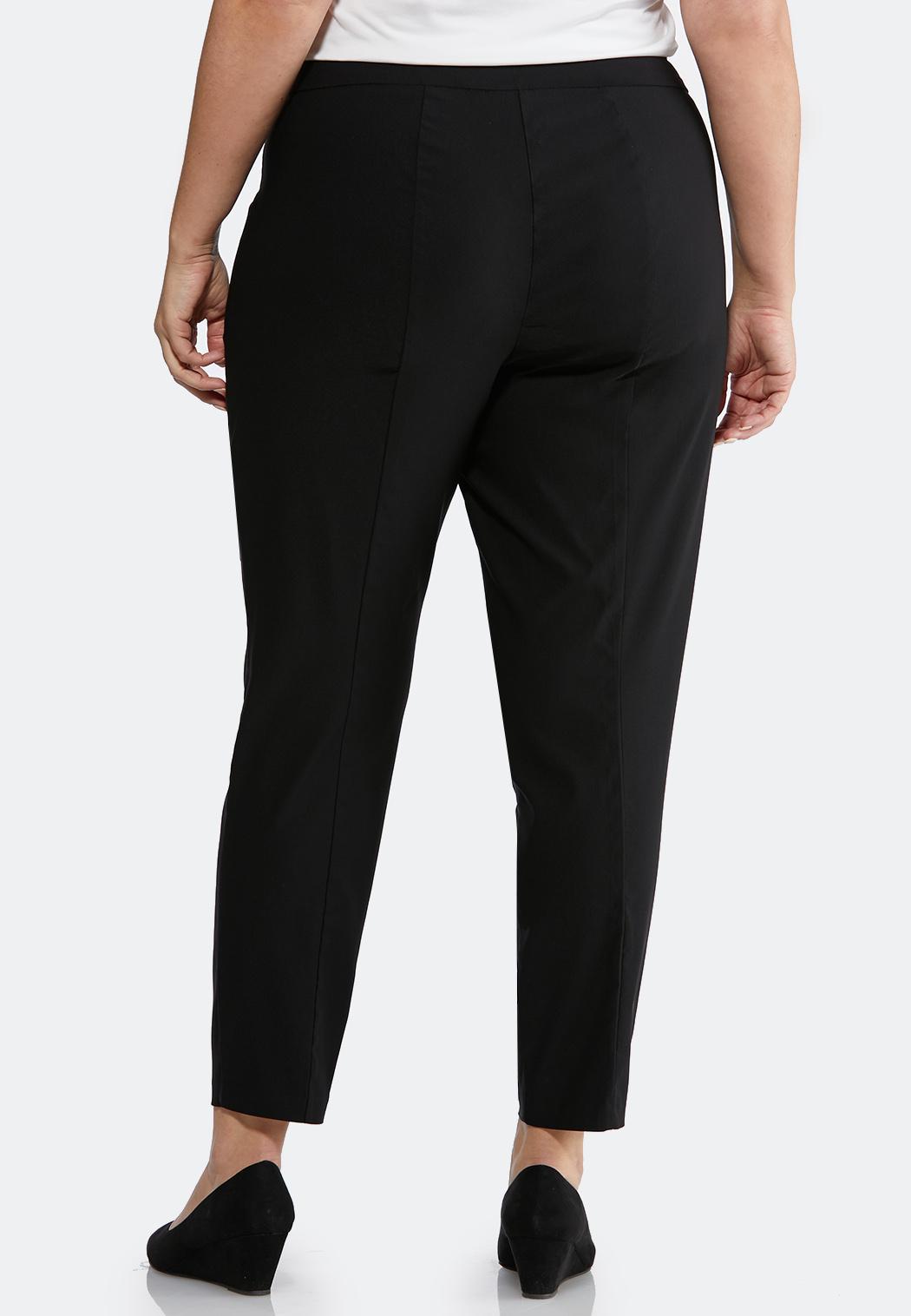 Plus Size Pull-On Solid Slim Pants (Item #43799439)