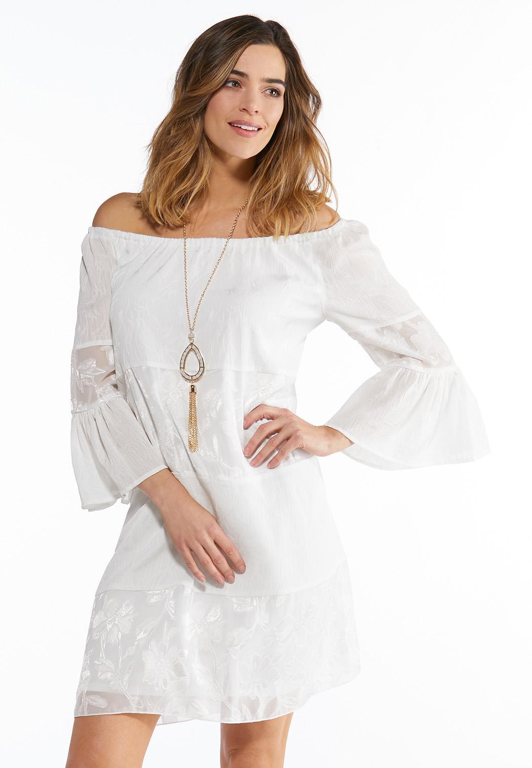 89b4ceebae6 Plus Size White Peasant Dress A-line   Swing Cato Fashions