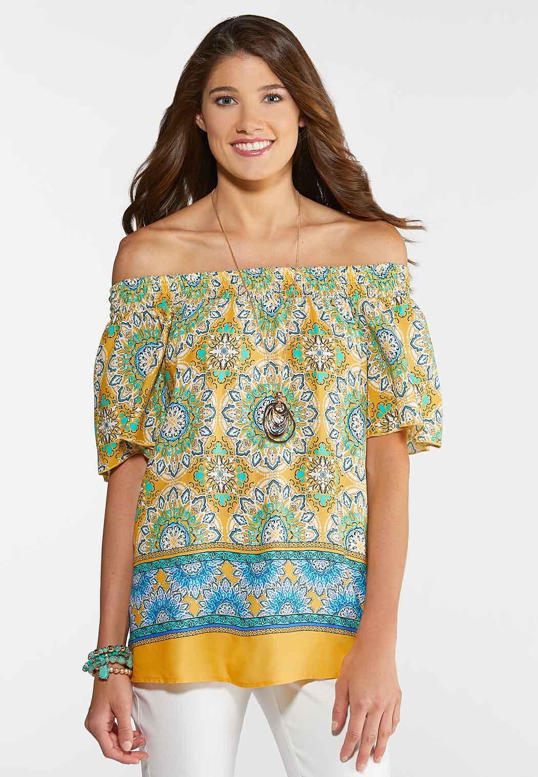4f94e87c0cb836 Plus Size Gold Border Paisley Peasant Top Shirts   Blouses Cato Fashions