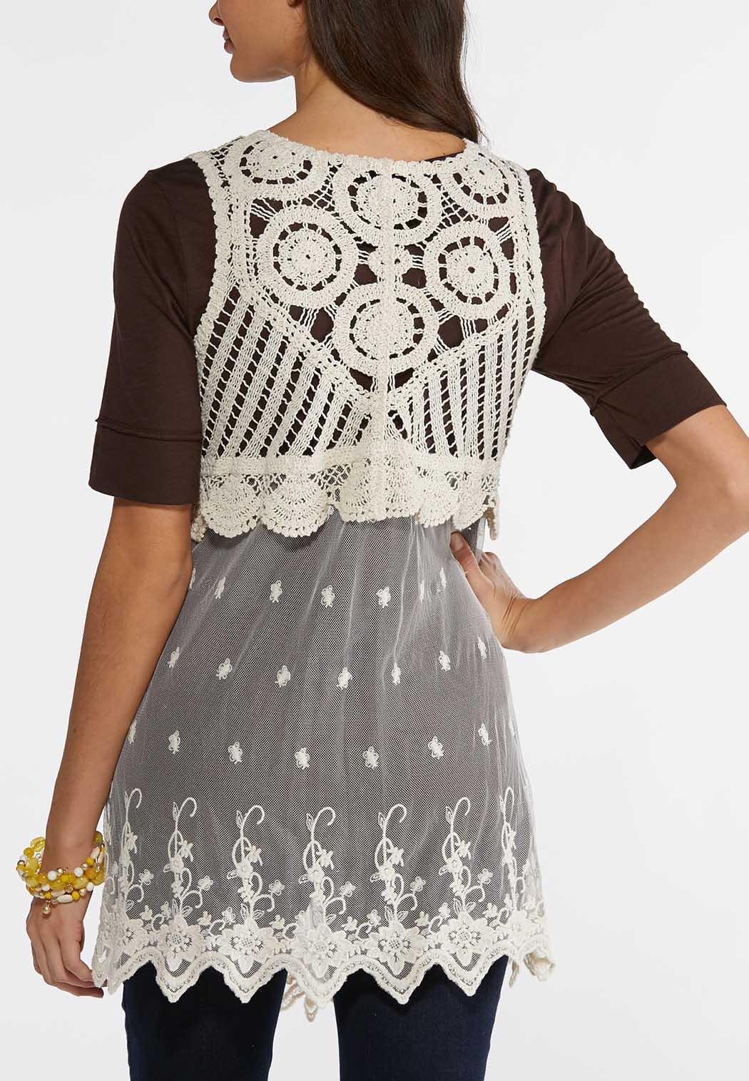 Plus Size Mesh Crochet Vest Vests Cato Fashions