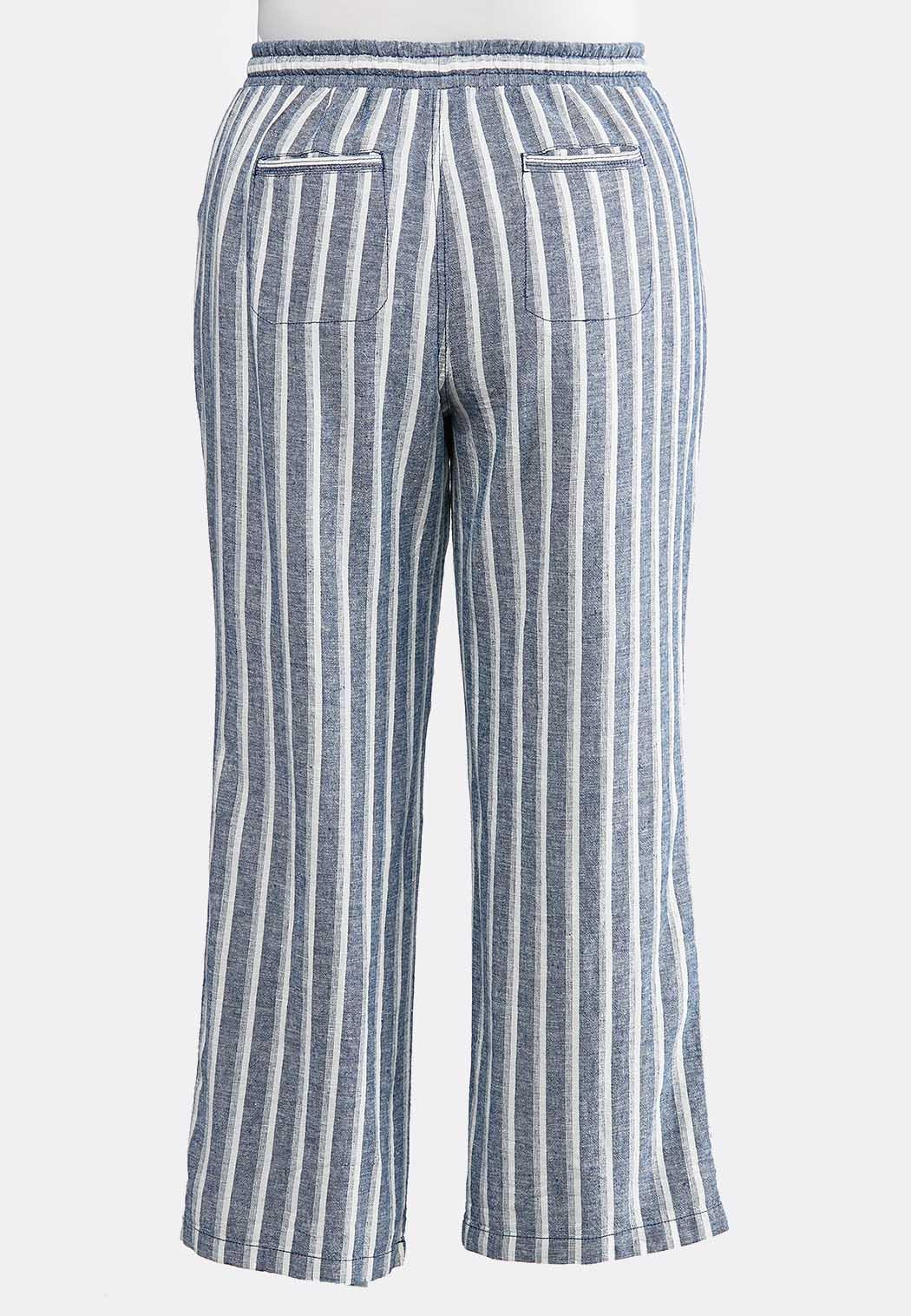Plus Size Muted Stripe Linen Pants (Item #43814829)