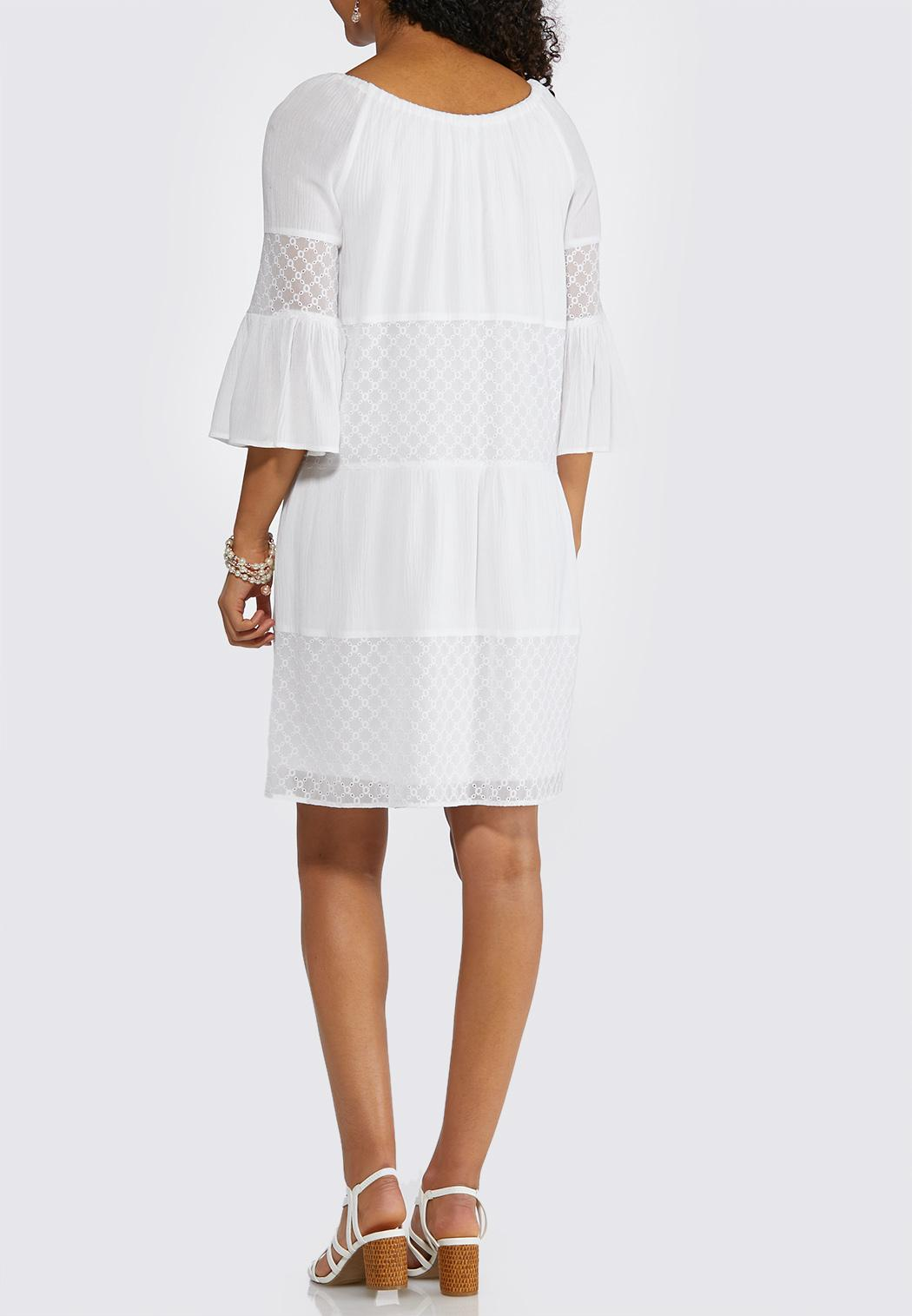 Plus Size Bell Sleeve Eyelet Peasant Dress A-line & Swing Cato Fashions