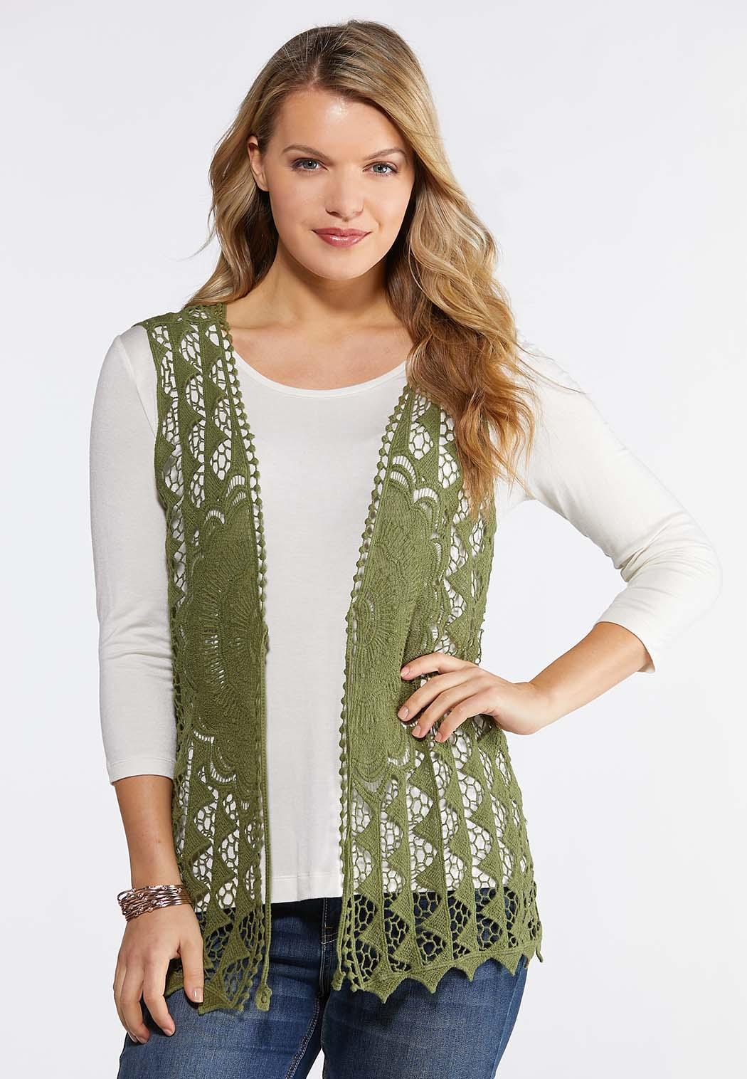 Crochet Tie Front Vest (Item #43844115)