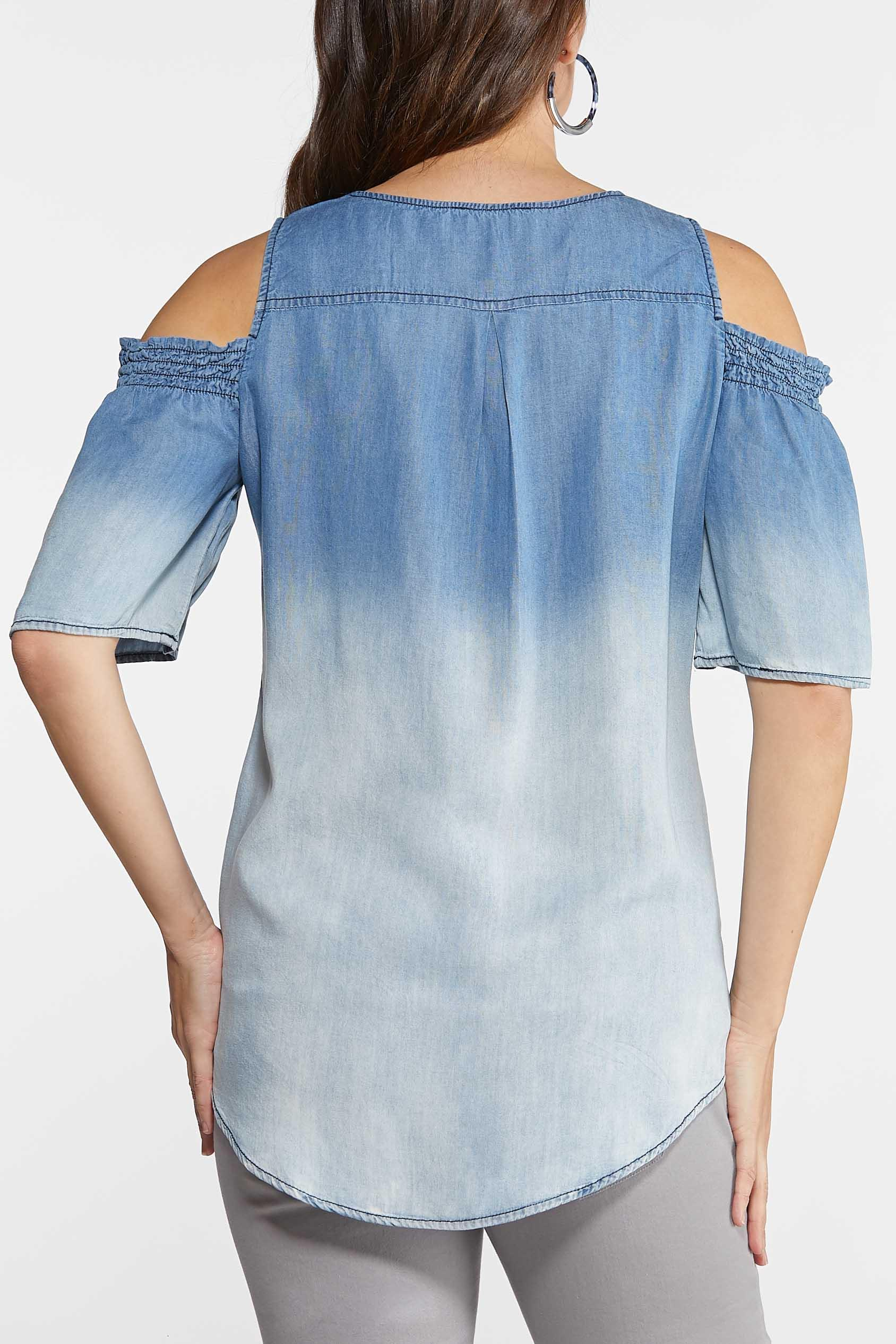 Plus Size Chambray Cold Shoulder Top (Item #43844545)