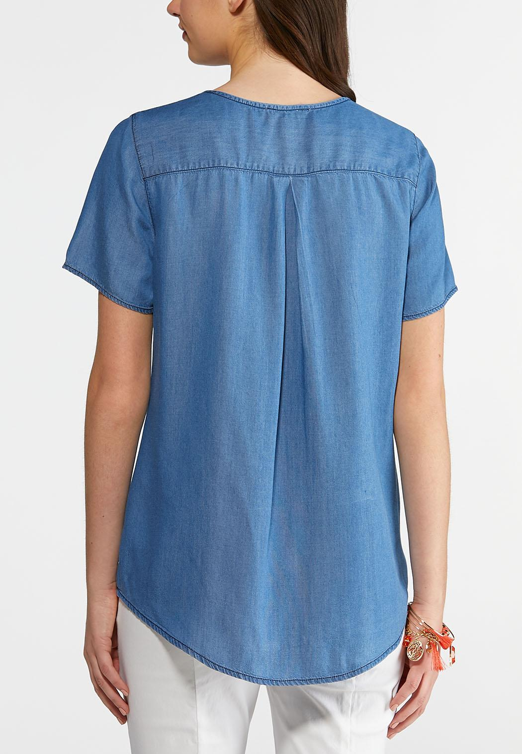 Plus Size Embellished Chambray Top (Item #43844640)