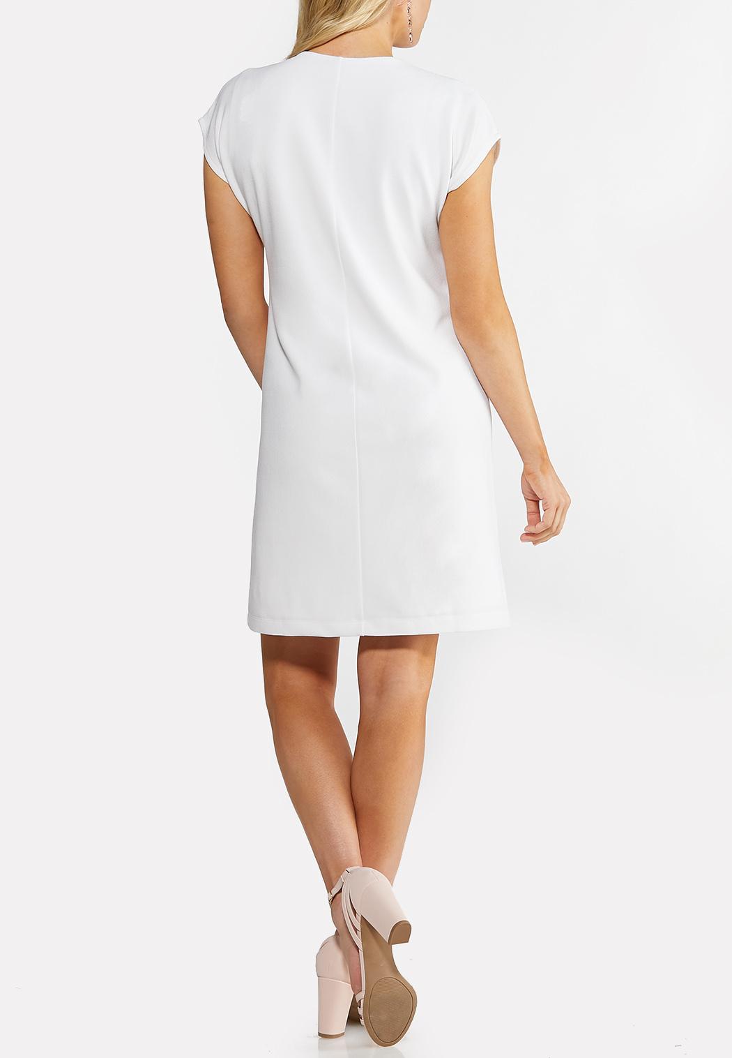 11f6e9b9ab0 Plus Size White Puff Print Shift Dress Plus Sizes Cato Fashions