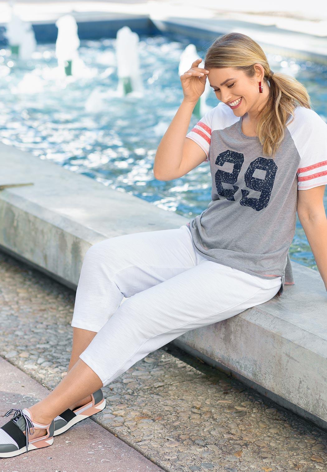 Plus Size Sporty Stripe Sleeve Tee (Item #43850332)