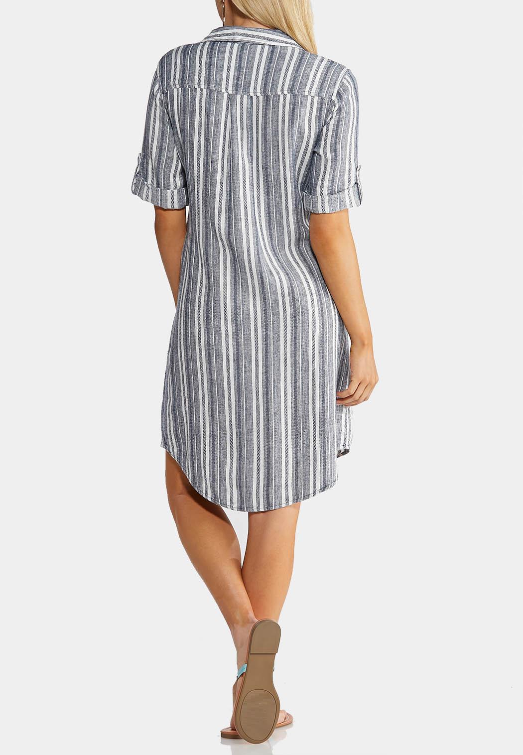 Plus Size Linen Striped Shirt Dress  (Item #43860212)
