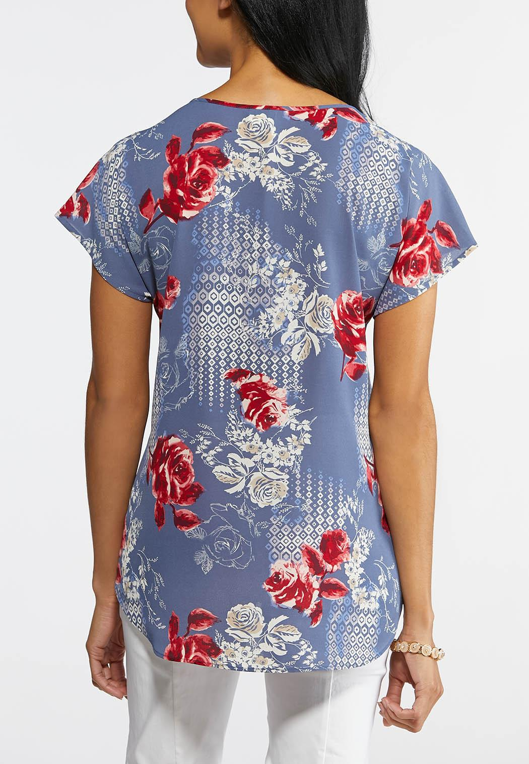 Beaded Keyhole Floral Top (Item #43861923)