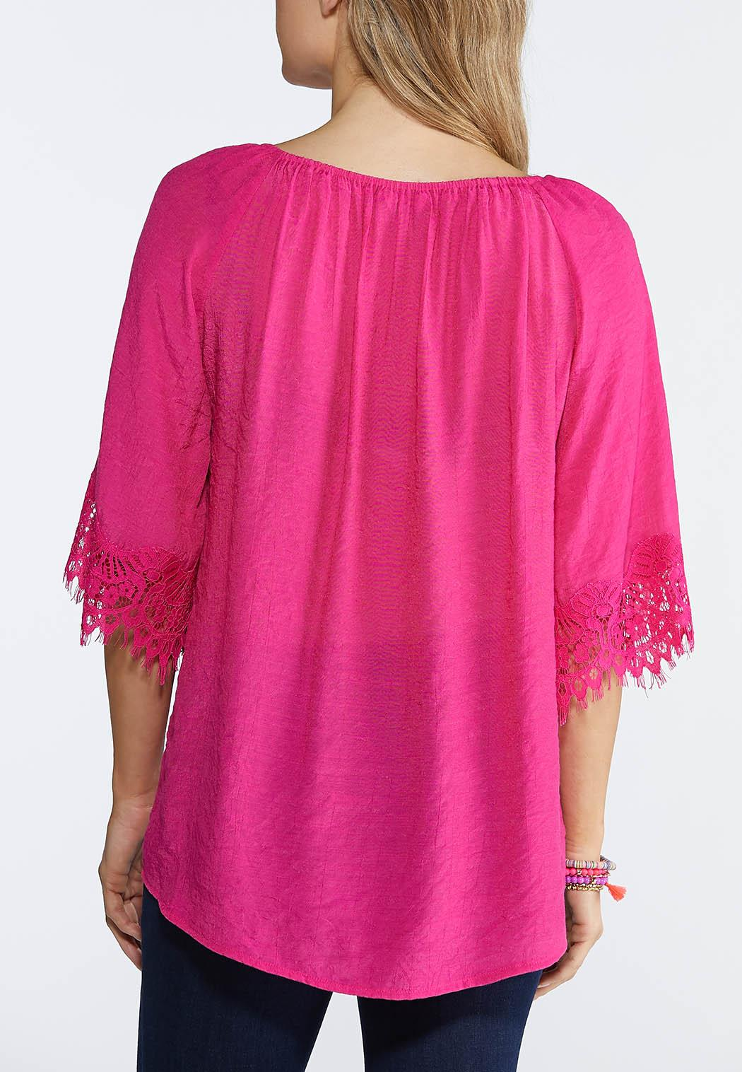 Plus Size Lace Trim Off The Shoulder Top (Item #43871643)