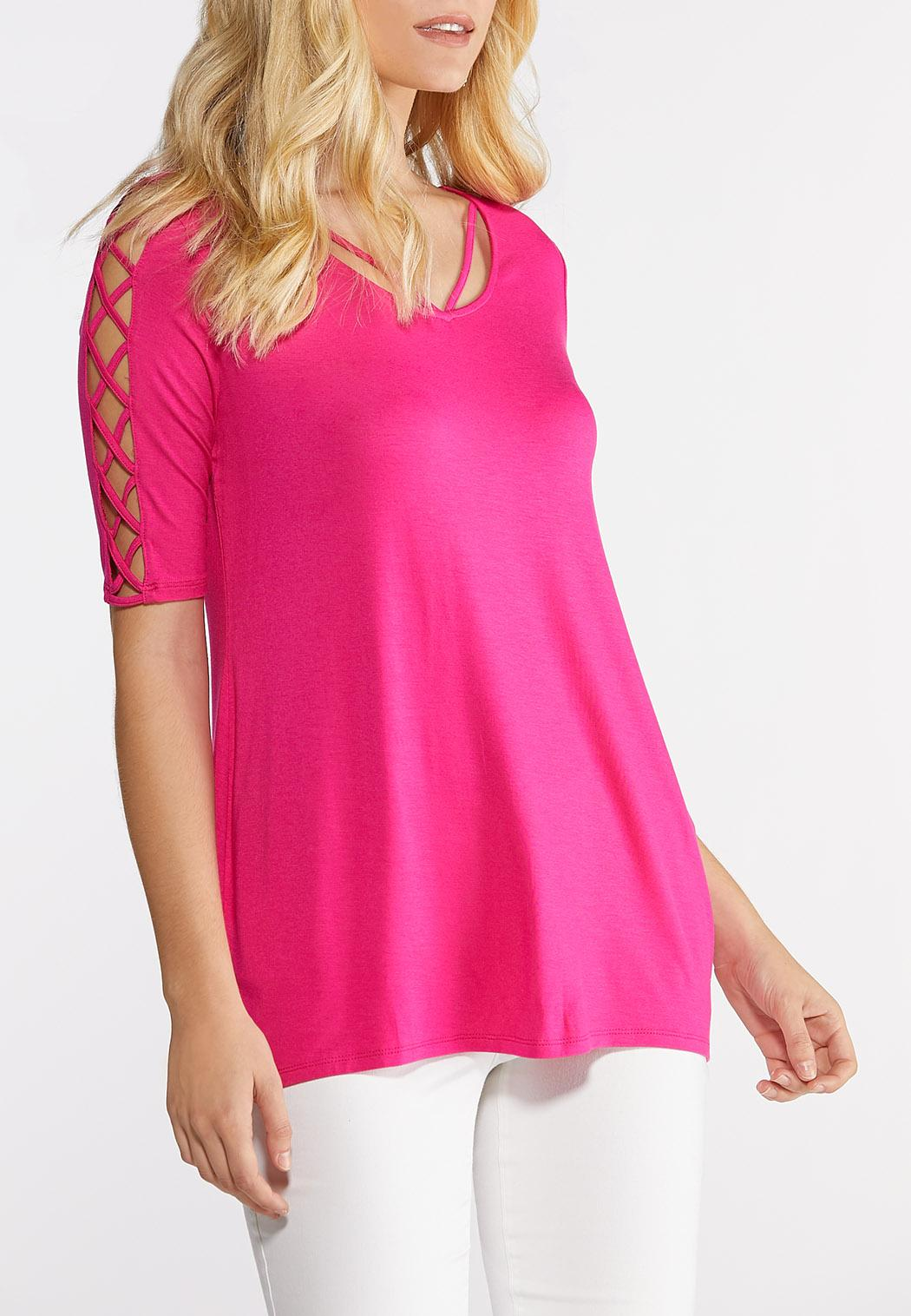 Plus Size Solid Lattice Tee (Item #43872388)