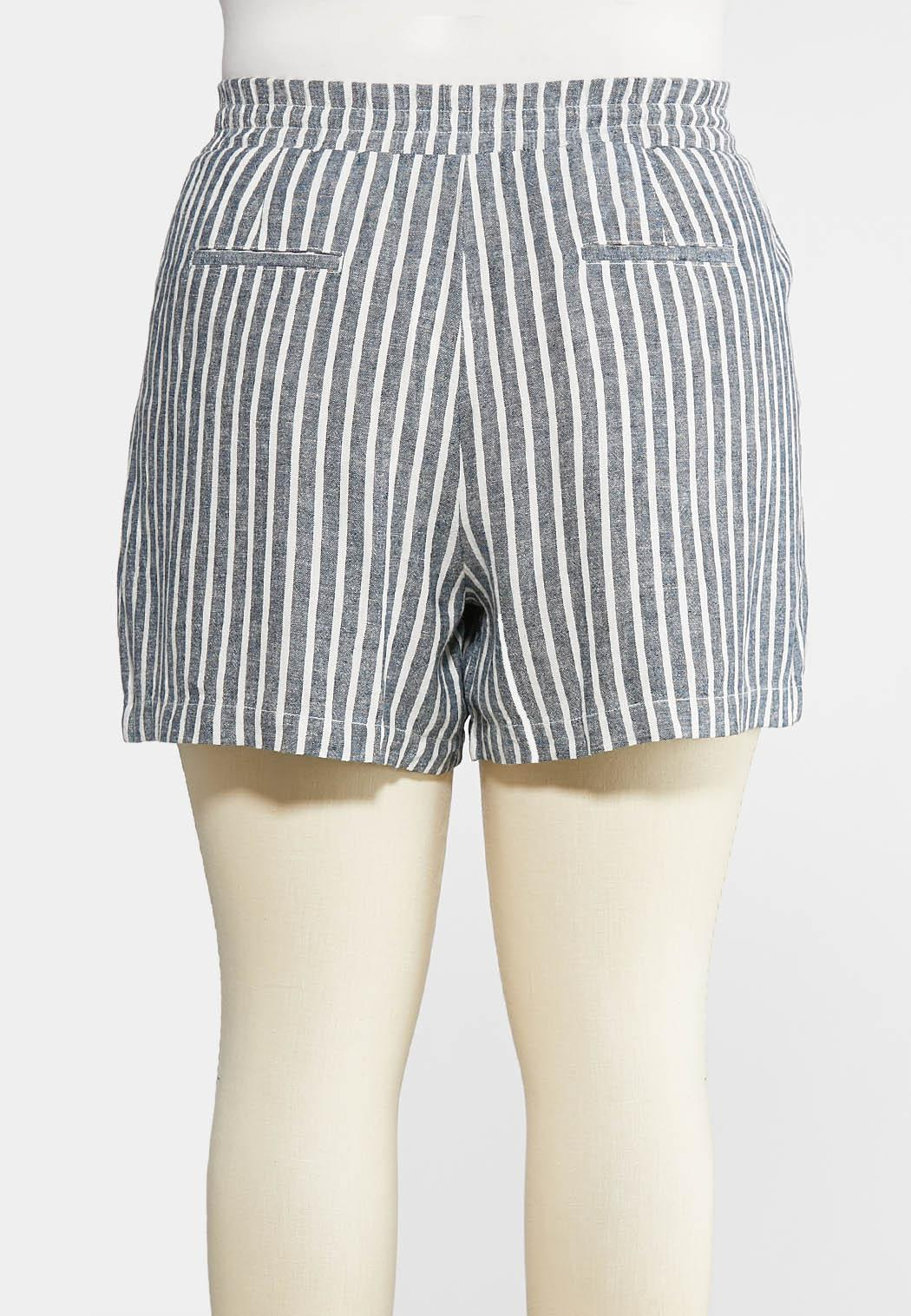 5ff3a52a264 Plus Size Nautical Stripe Linen Shorts Shorts Cato Fashions