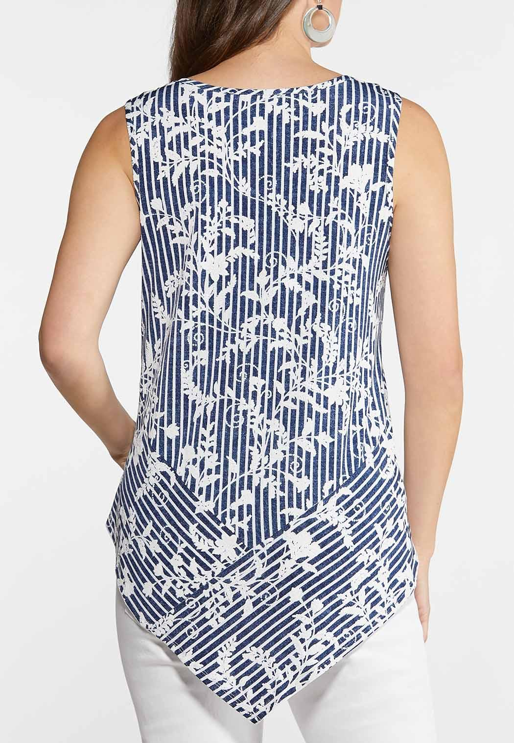 cbbc44ff4a0879 Indigo Stripe Floral Tank Tops Cato Fashions