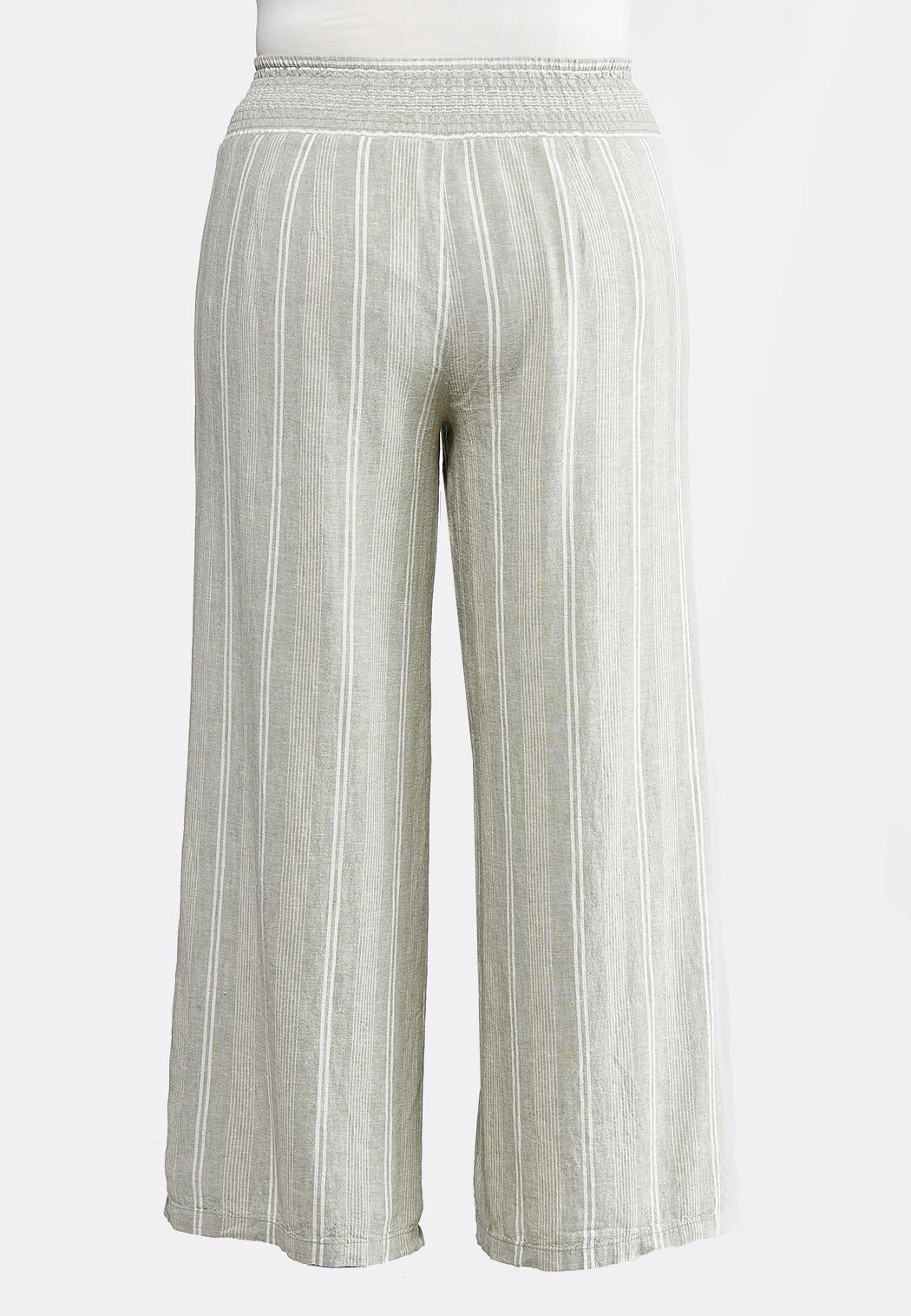 Plus Size Stripe Wide Leg Linen Pants (Item #43881764)