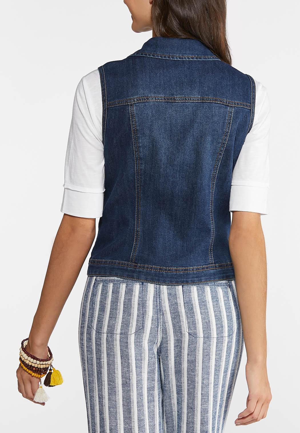 Plus Size Dark Wash Denim Vest (Item #43886063)