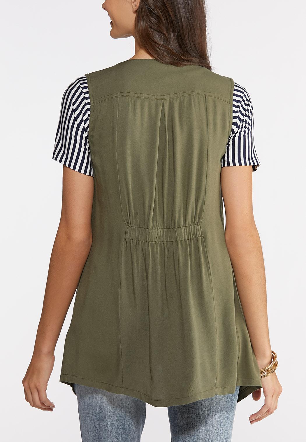 Plus Size Drape Front Utility Vest (Item #43889952)