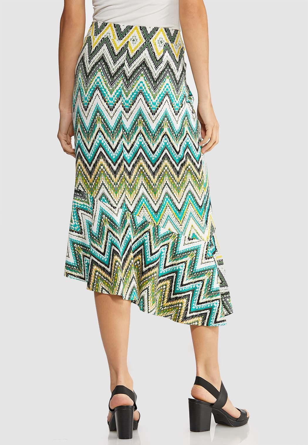 Plus Size Asymmetrical Chevron Skirt (Item #43893274)