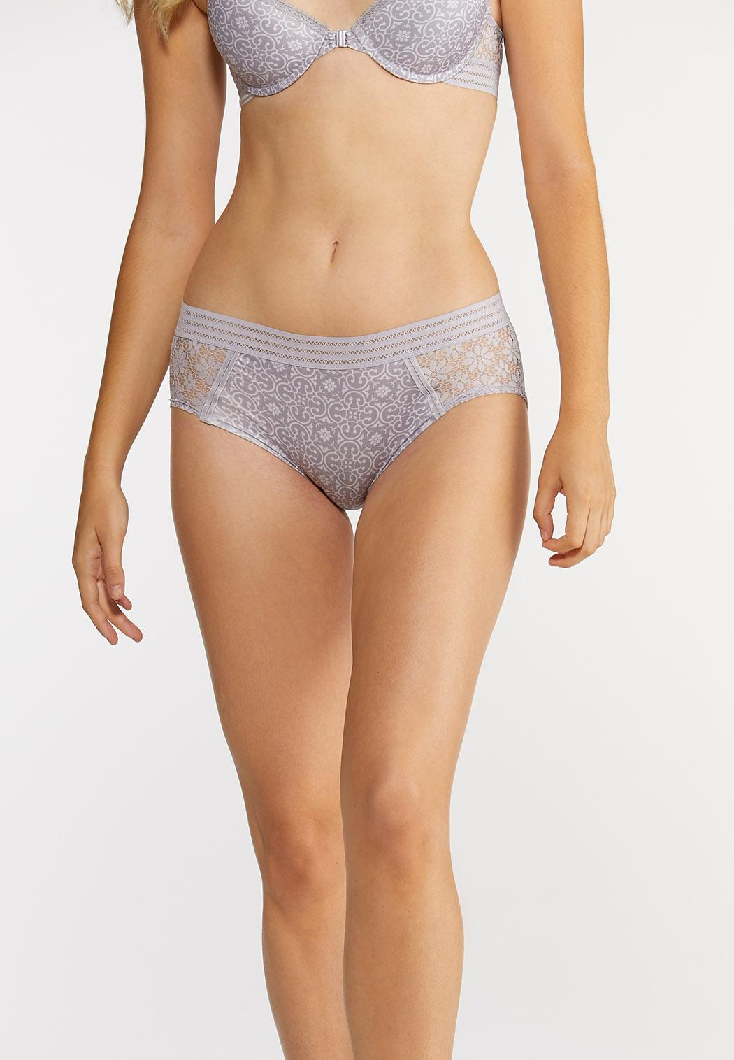Plus Size Lace Inset Hipster Panty Set (Item #43899220)