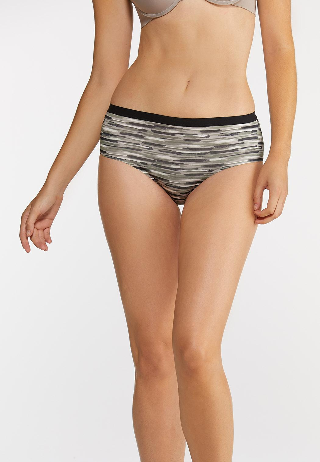 Plus Size Abstract High Waist Panty Set (Item #43899539)