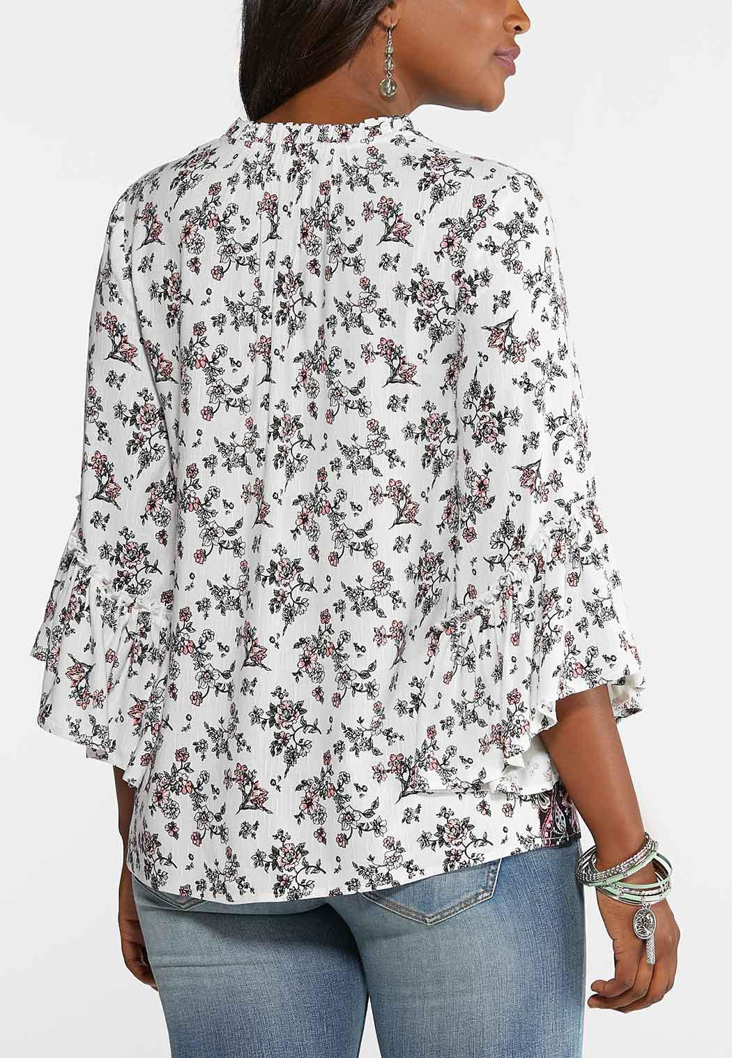 31d3ce49e1bf Plus Size Ruffled Country Floral Poet Top Shirts & Blouses Cato Fashions
