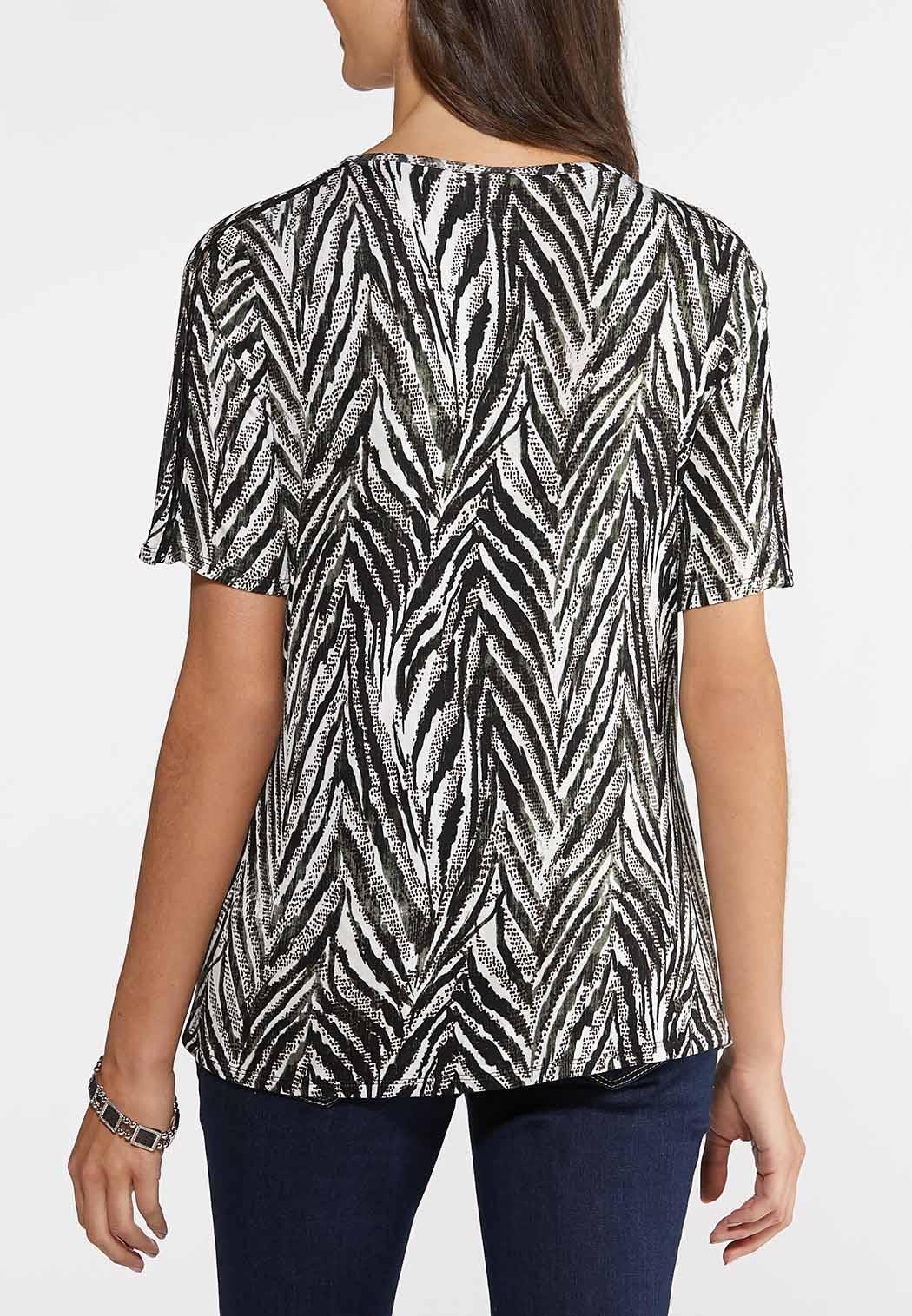 Lattice Sleeve Zebra Top (Item #43903970)