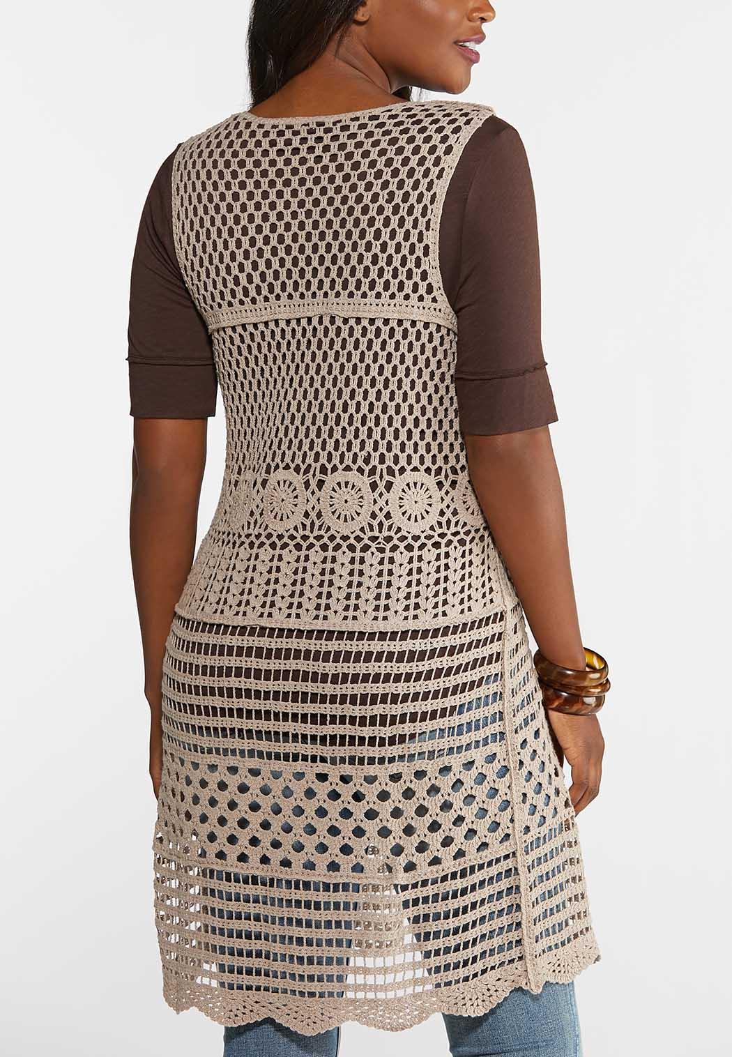Plus Size Medallion Crochet Vest (Item #43904280)