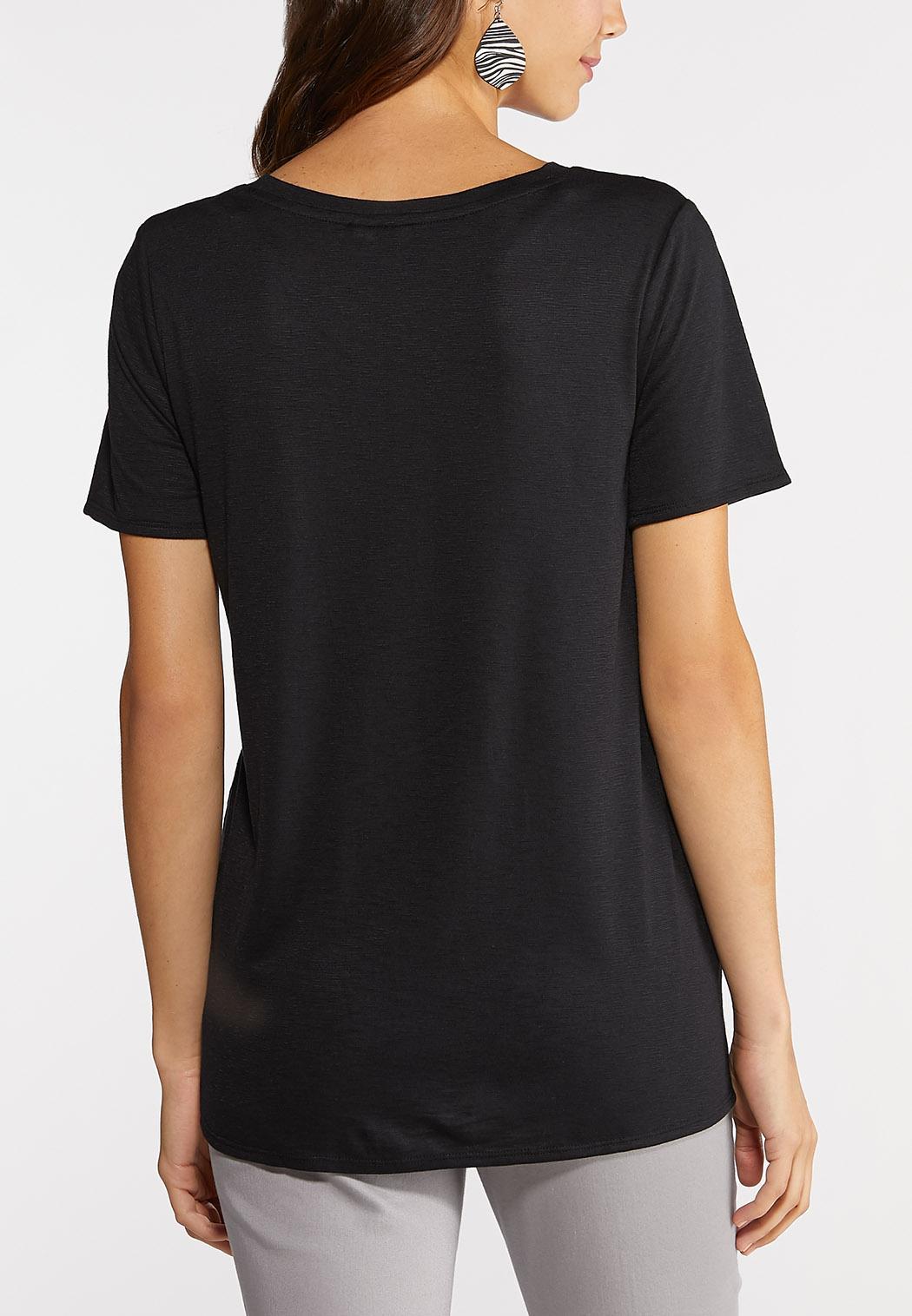 Plus Size Tie Front V-Neck Tee (Item #43904706)