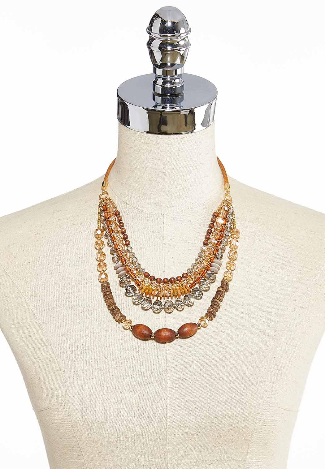 Layered Mixed Material Necklace (Item #43910850)