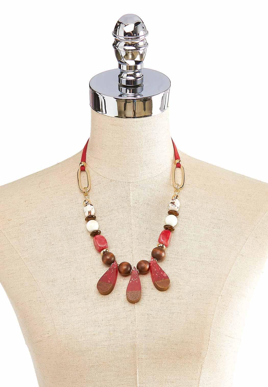 Multi Wood Bead Cord Necklace (Item #43910933)