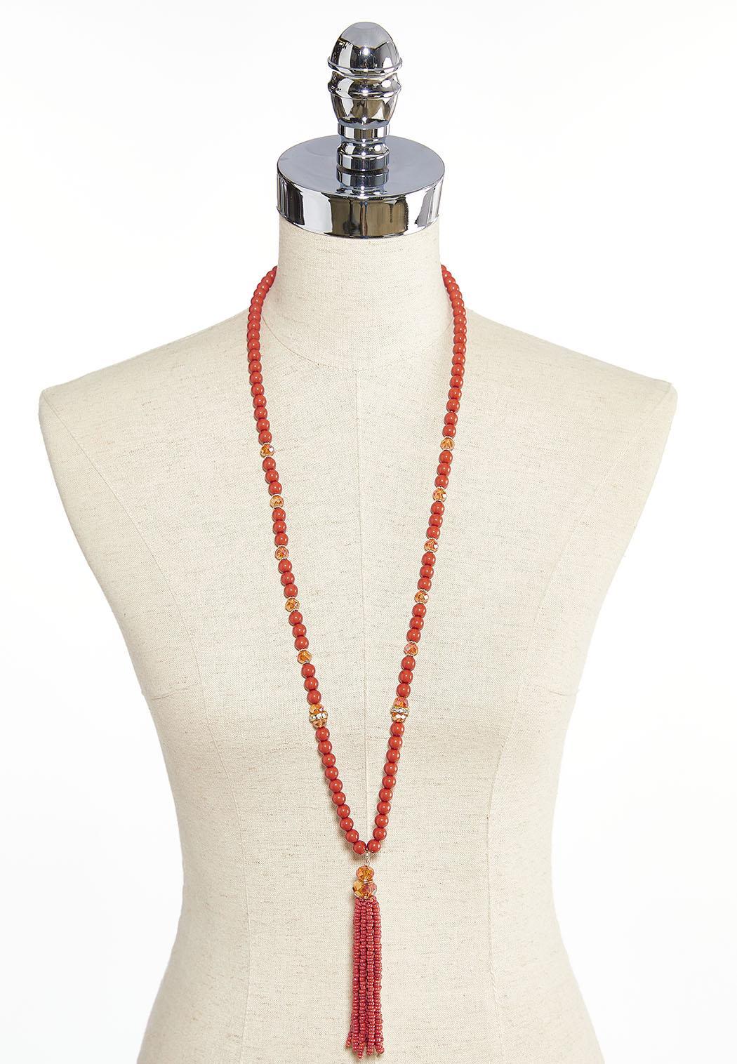 Long Beaded Tassel Necklace (Item #43911553)
