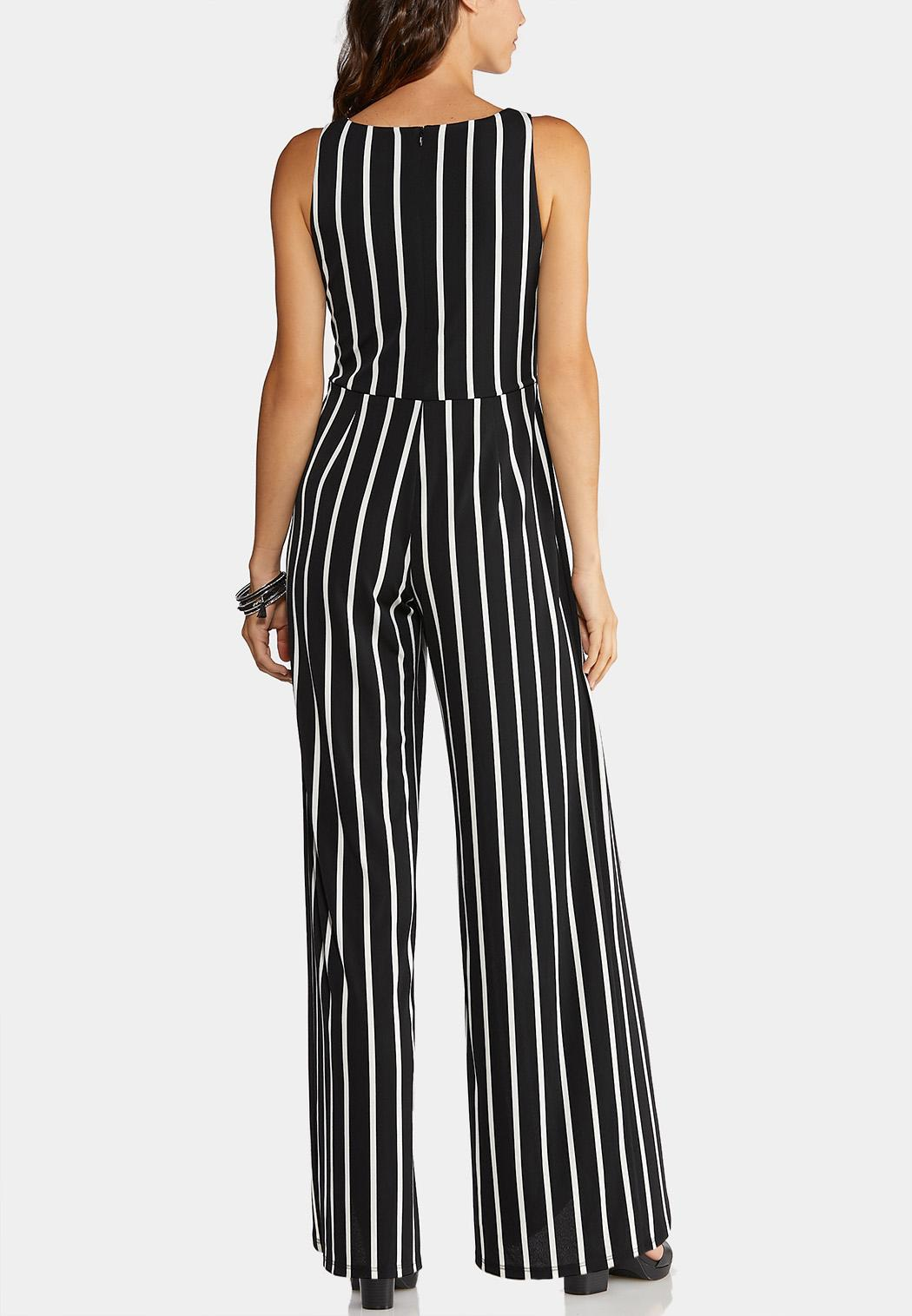Plus Size Stripe Tie Waist Jumpsuit (Item #43913632)