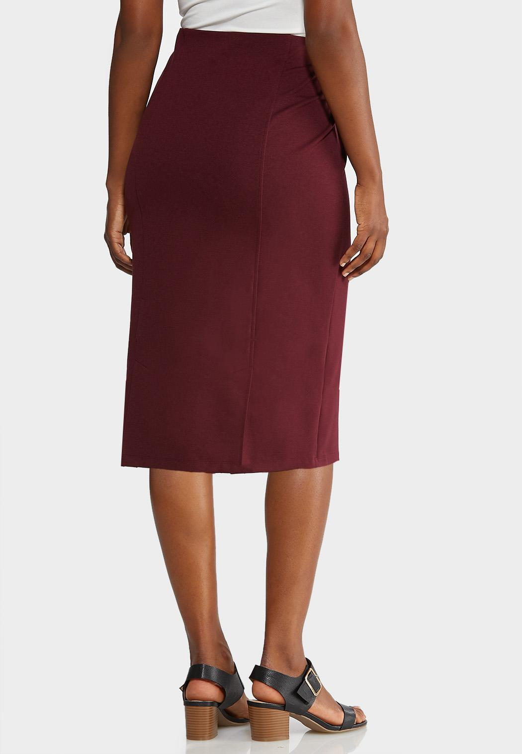 Plus Size Ponte Pull-On Pencil Skirt (Item #43916138)