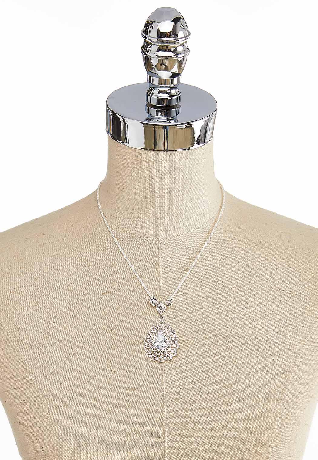 Cubic Zirconia Pear Pendant Necklace (Item #43916843)