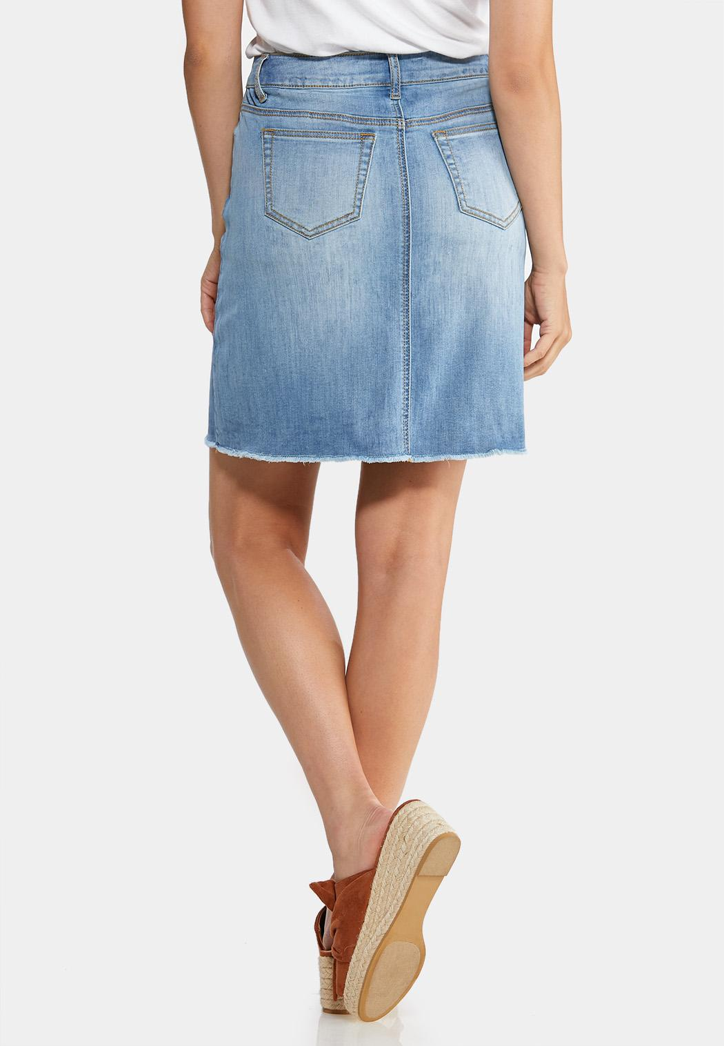 Zig Zag Stitch Denim Skirt (Item #43917378)