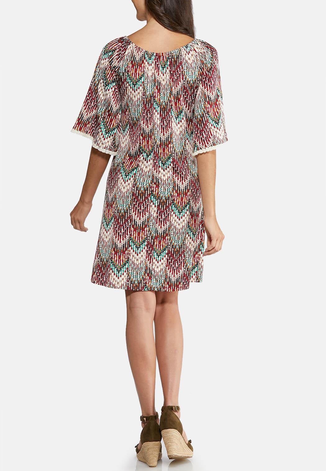 Plus Size Puff Tassel Trim Dress (Item #43920978)