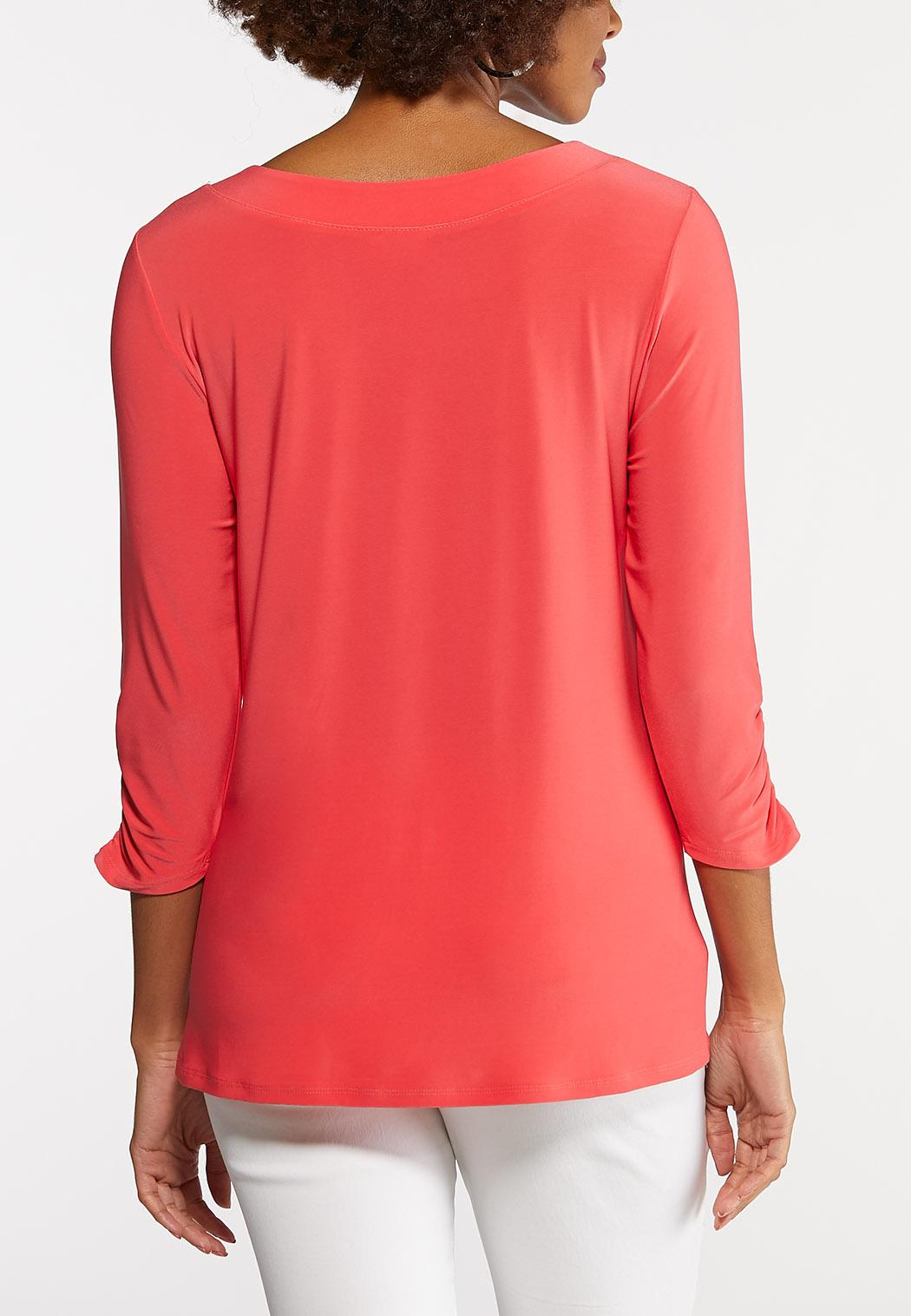 Plus Size Grommet Ruched Sleeve Top (Item #43923102)