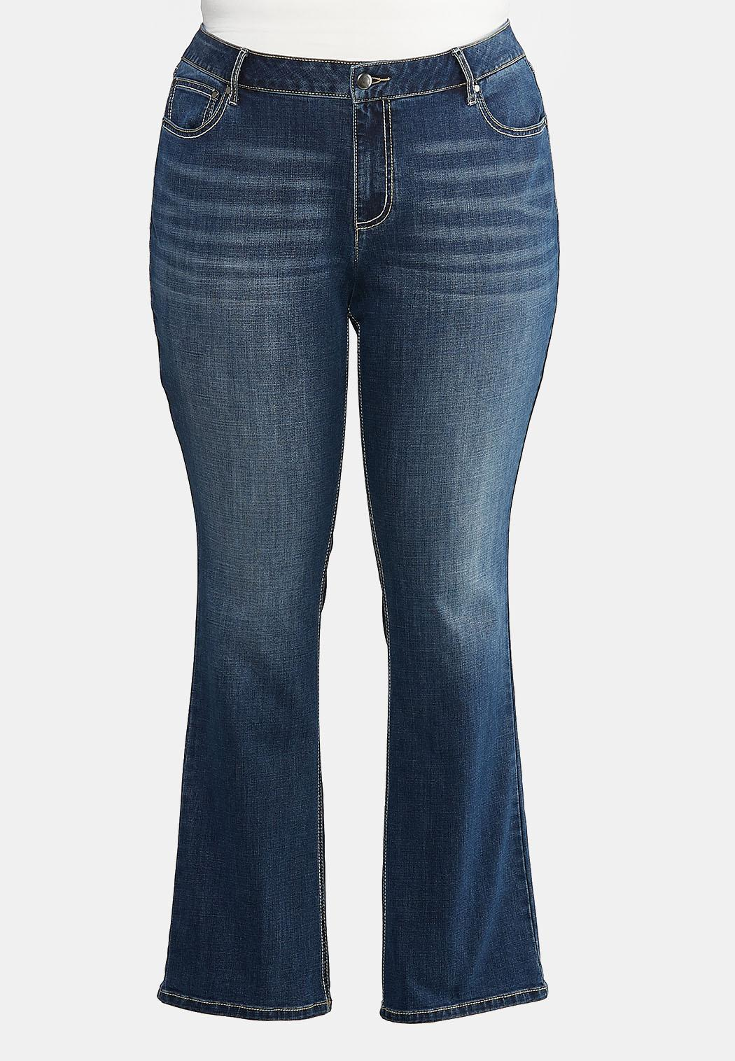 Plus Extended Curvy Studded Pocket Bootcut Jeans (Item #43926723)