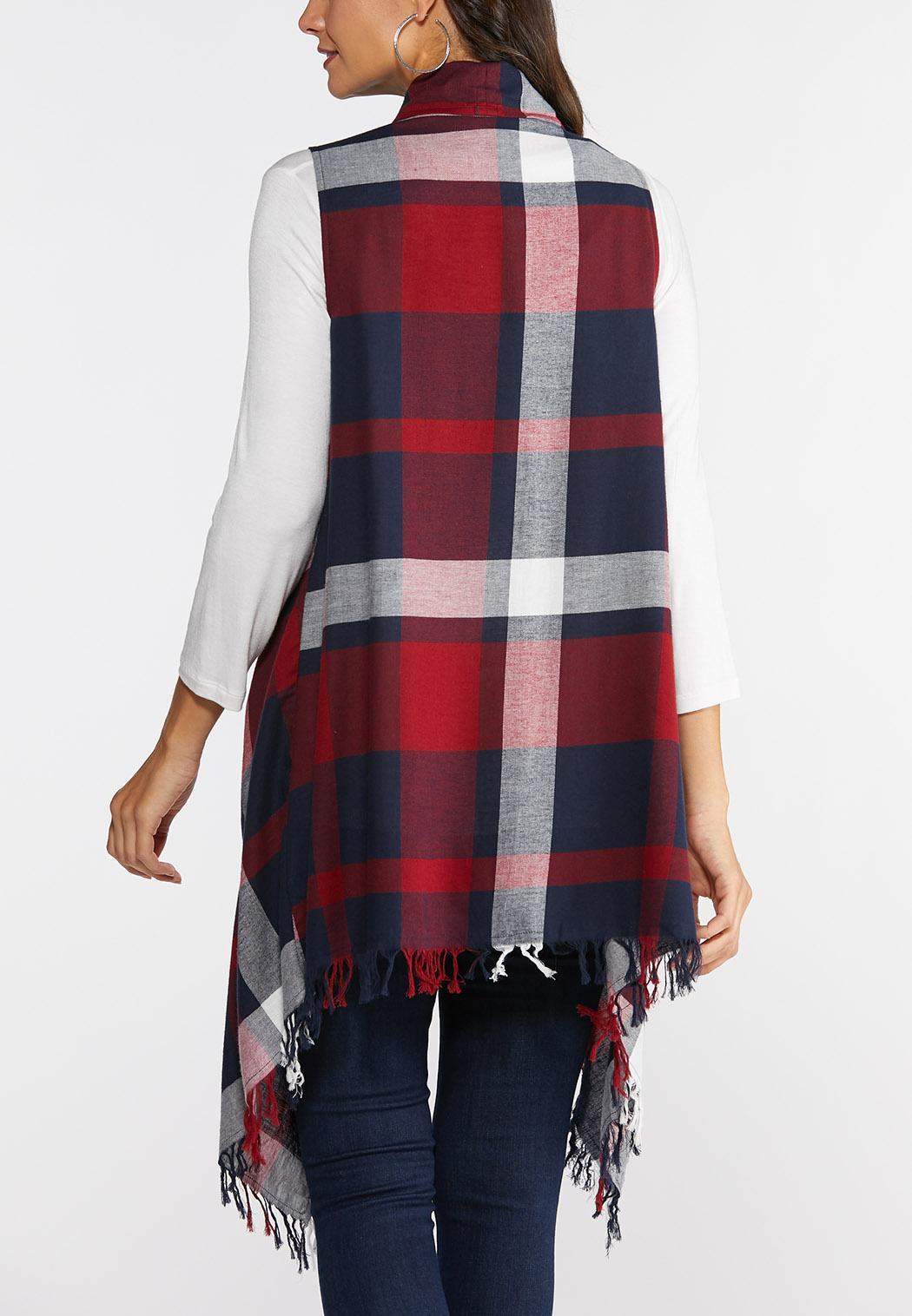 Plus Size Fringe Plaid Vest (Item #43928736)