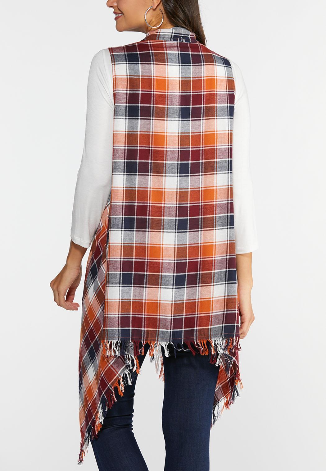 Plus Size Frayed Plaid Vest (Item #43928762)