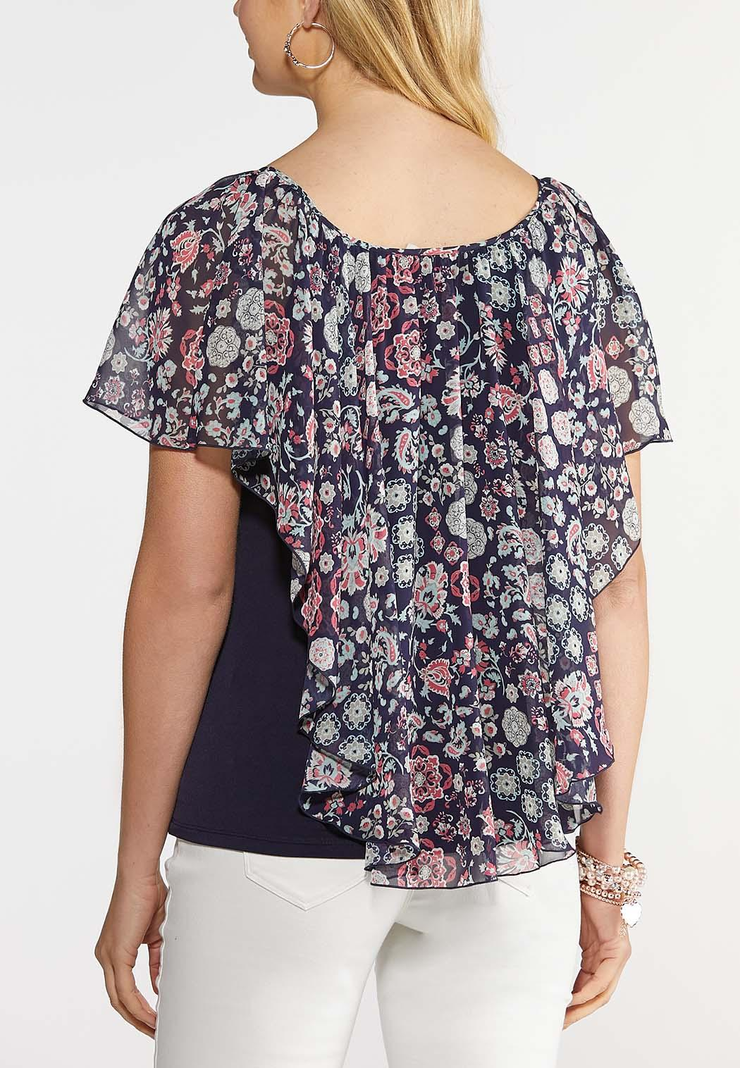 Plus Size Floral and Paisley Capelet Top (Item #43929011)