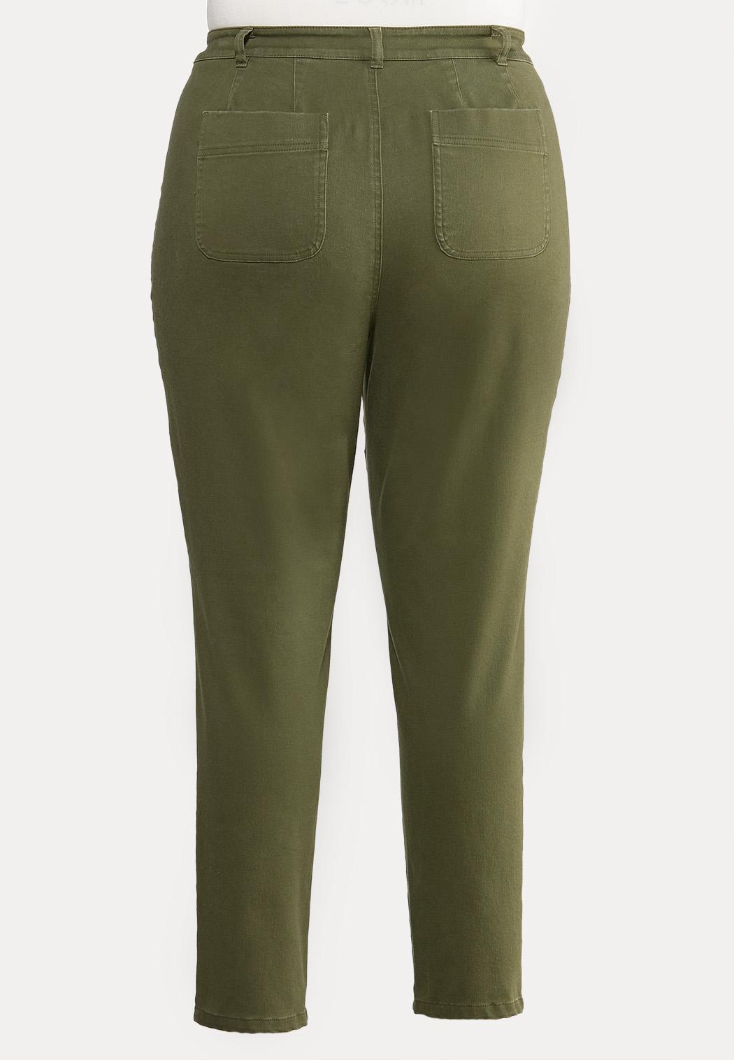 Plus Extended Olive Utility Jeans (Item #43933476)