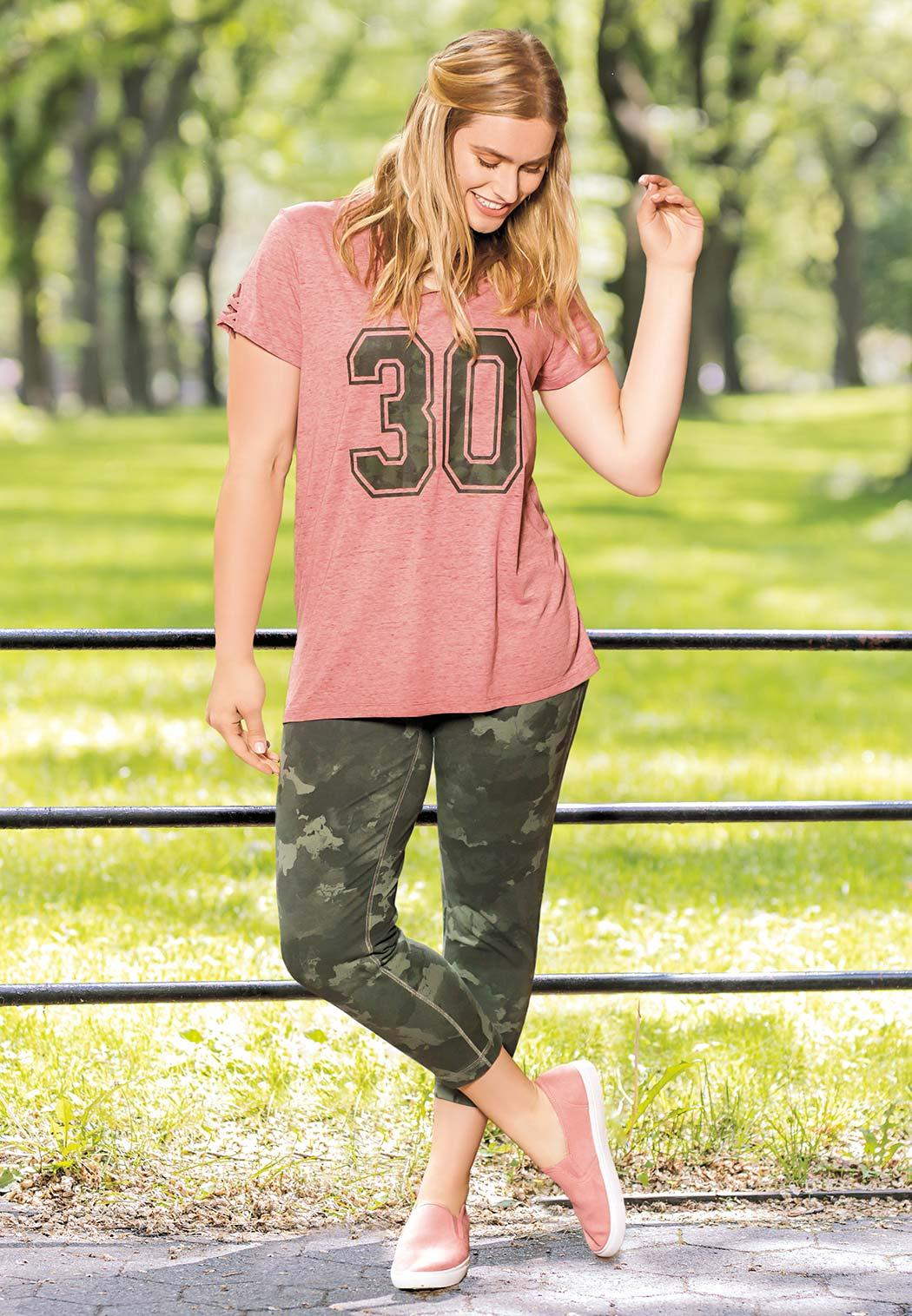 Plus Size Sporty Camo Number Tee (Item #43937484)