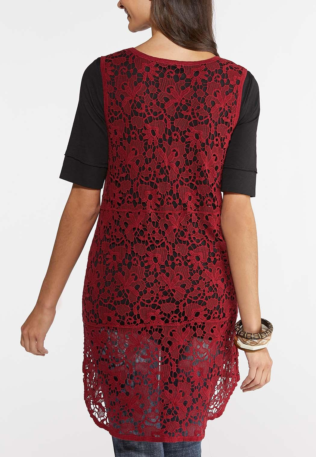 Plus Size Crochet High-Low Vest (Item #43938846)