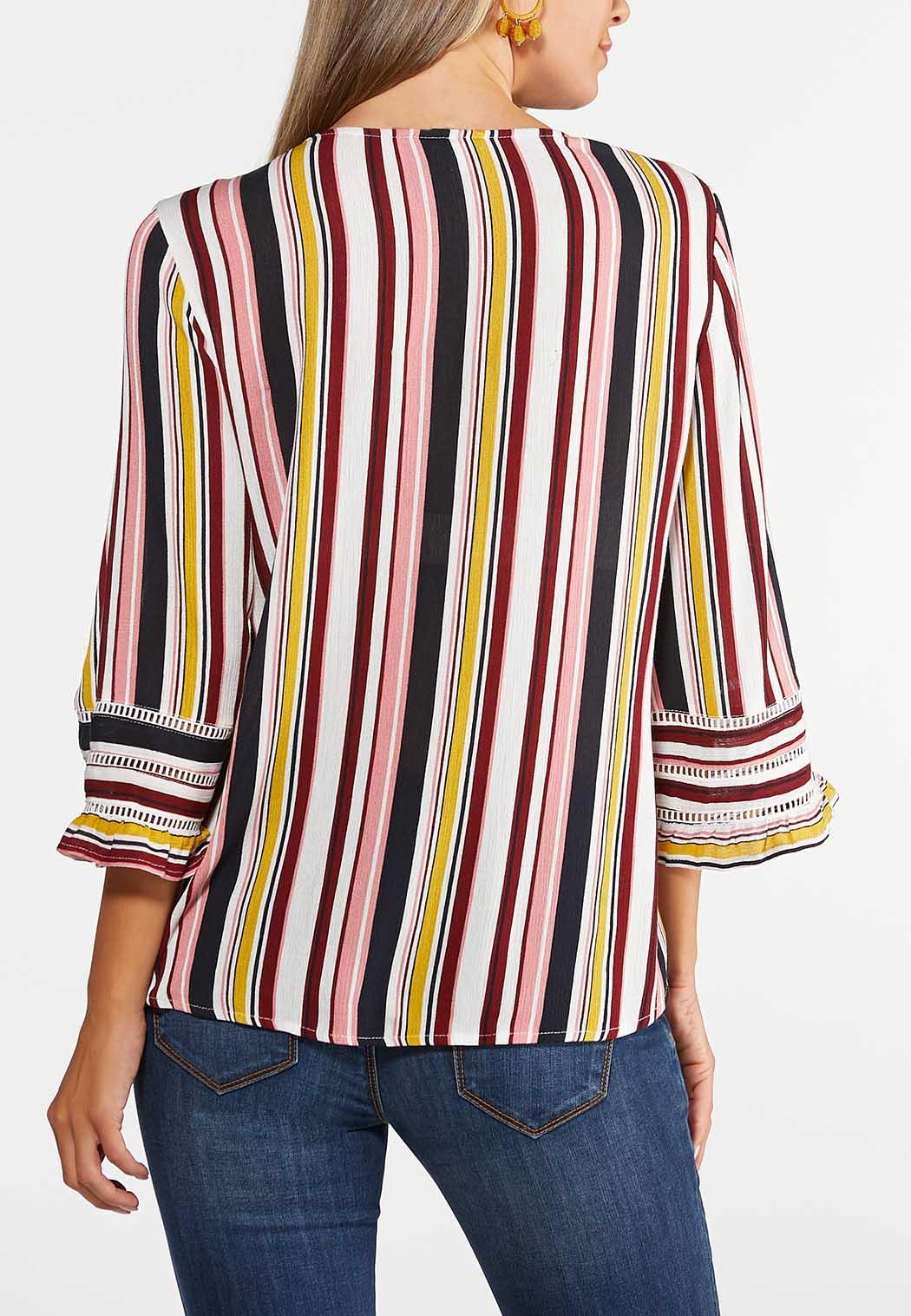 Plus Size French Stripe Tie Top (Item #43939422)