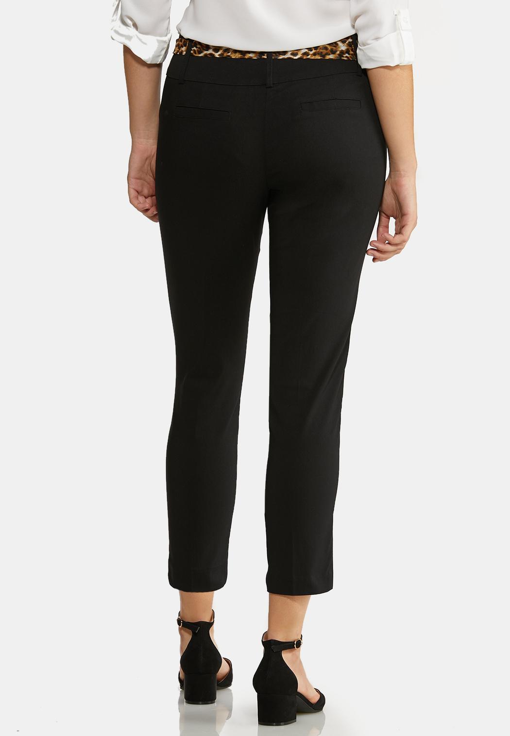 Leopard Belt Black Ankle Pants (Item #43940532)