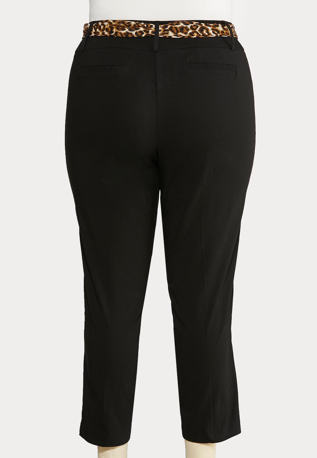 Plus Size Leopard Belt Black Ankle Pants (Item #43940681)