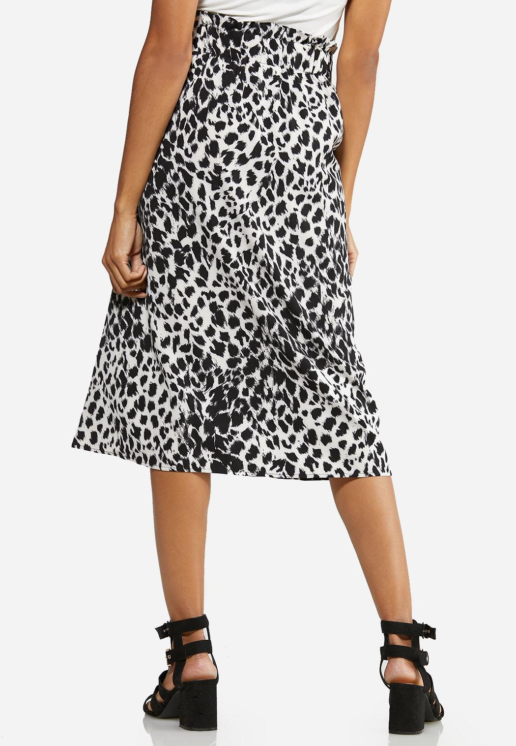 Plus Size Black White Leopard Midi Skirt (Item #43940758)