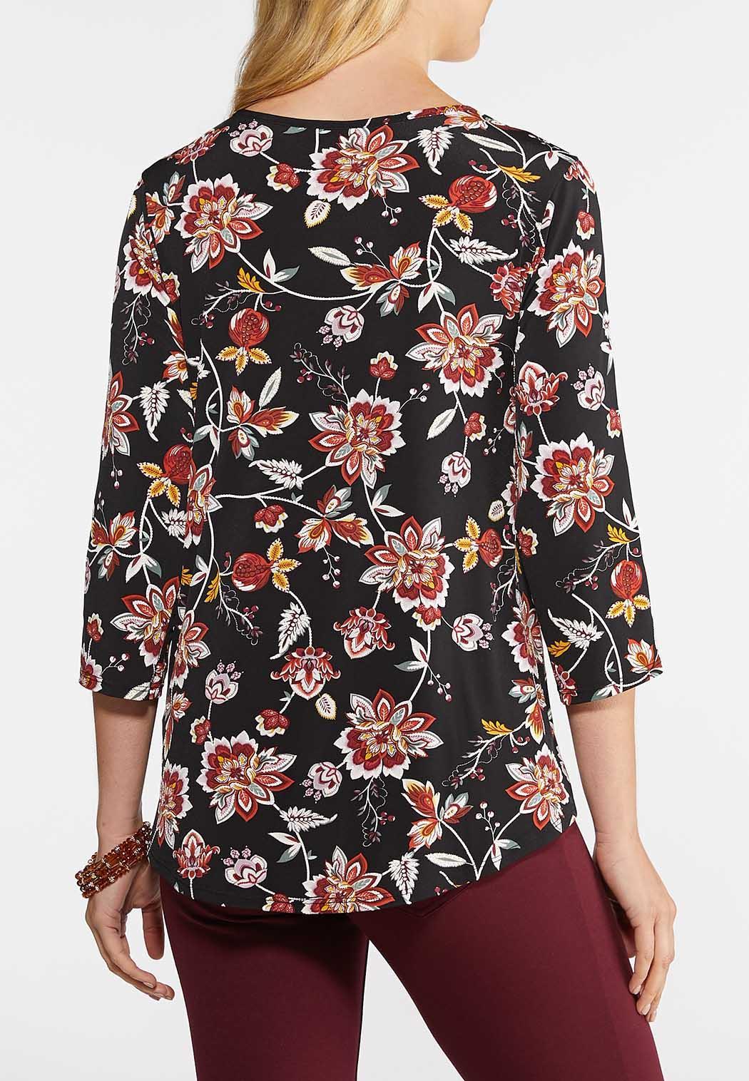 Plus Size Floral Puff Lattice Top (Item #43941091)