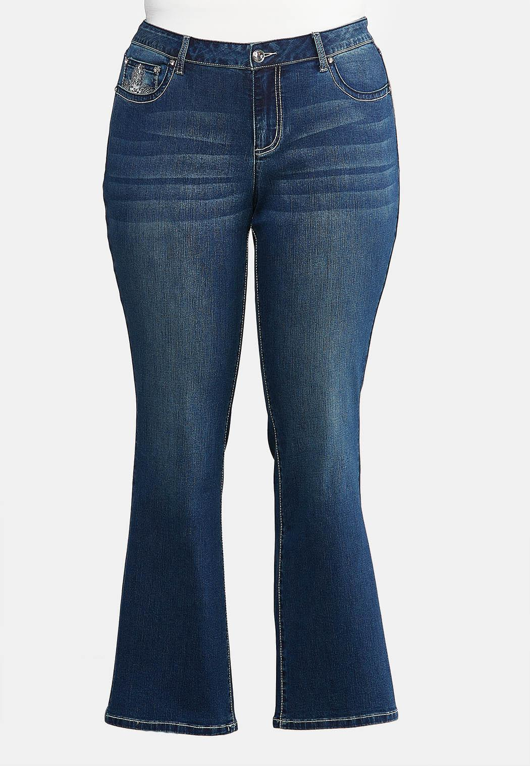 Plus Size Bootcut Bling Feather Jeans (Item #43942788)