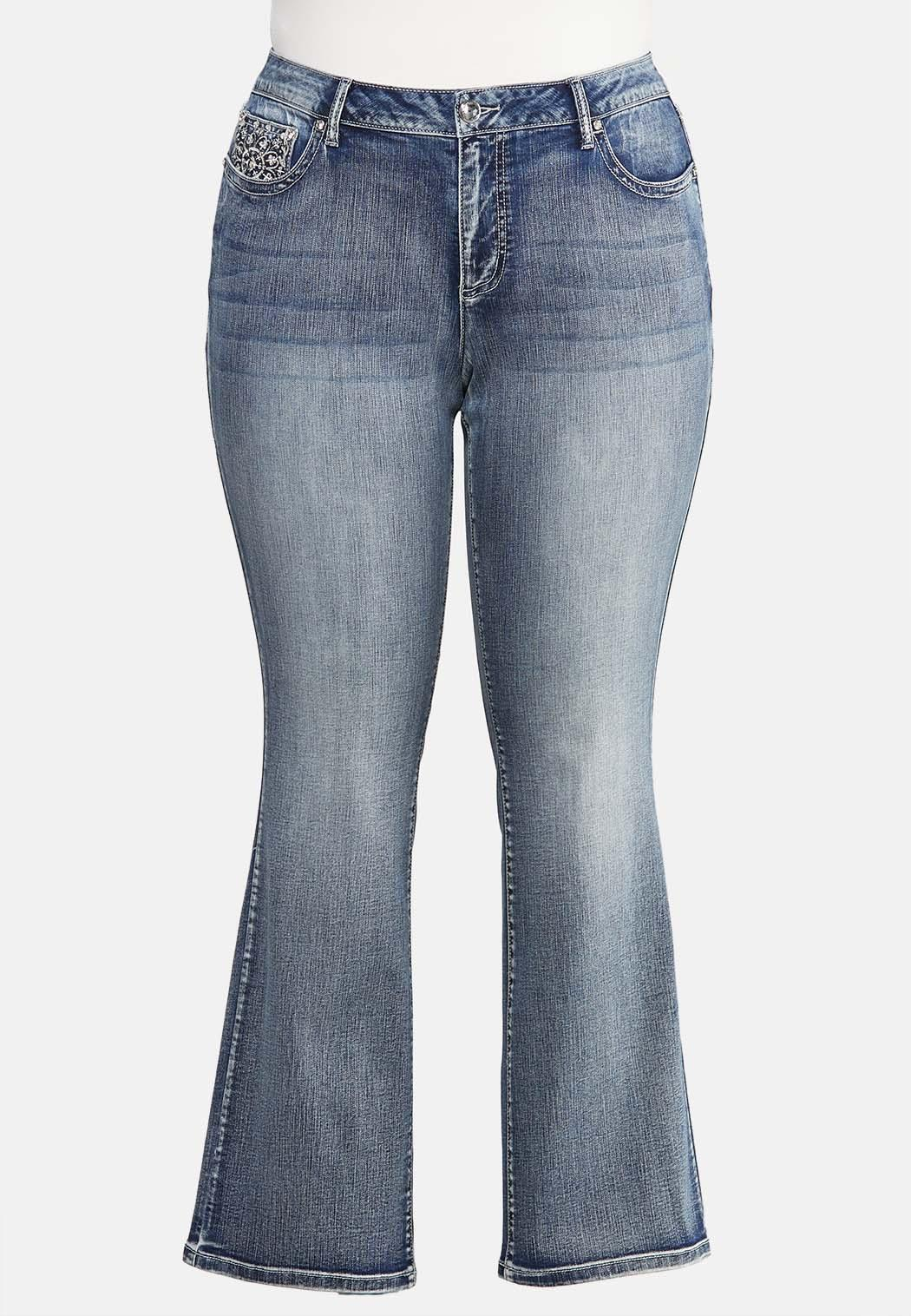 Plus Extended Curvy Floral Studded Jeans (Item #43942871)